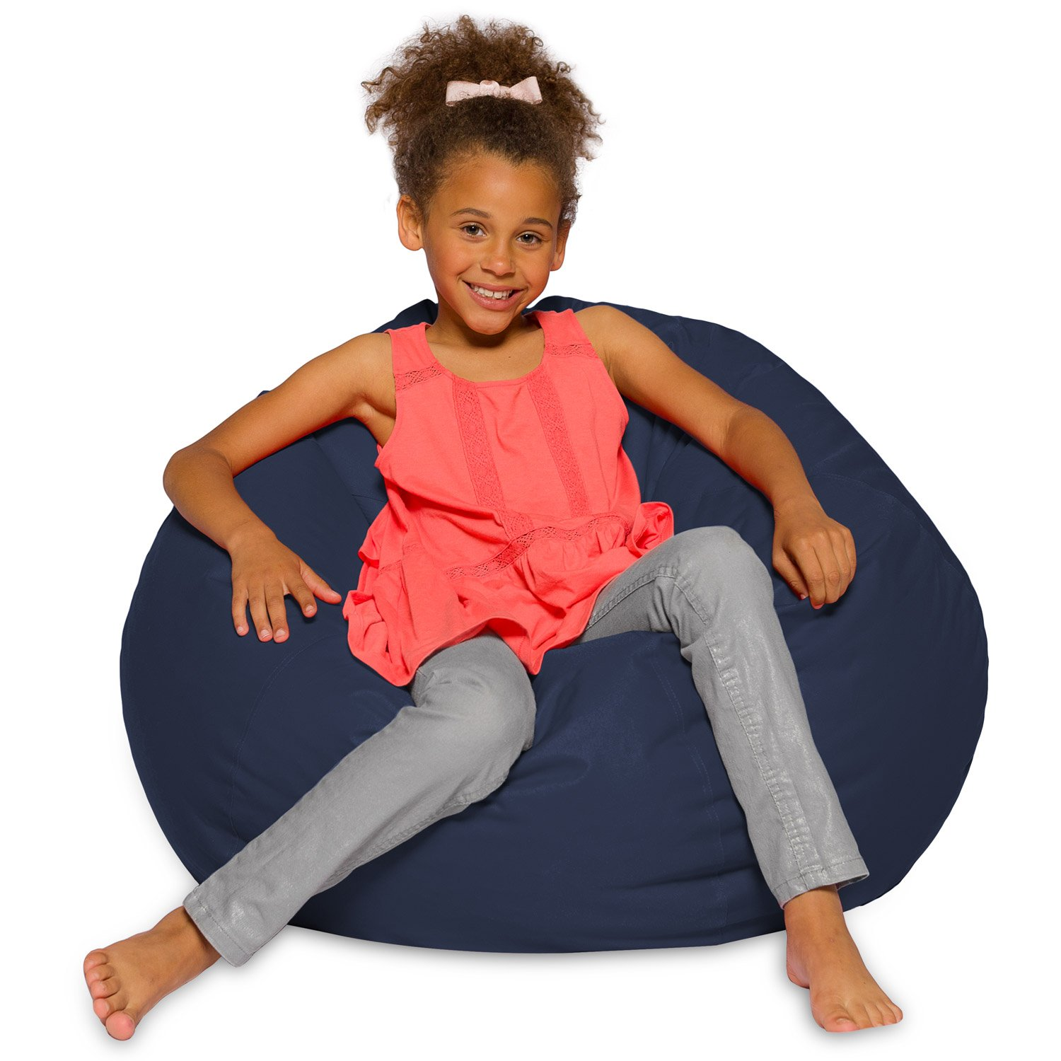 Big Comfy Bean Bag Chair: Posh Large Beanbag Chairs with Removable Cover for Kids, Teens and Adults - Polyester Cloth Puff Sack Lounger Furniture for All Ages - 27 Inch - Solid Navy Blue