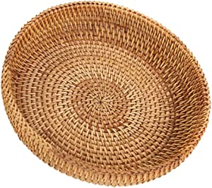 SHANGHh Hand-Woven Round Multi-Purpose Tray fit for Food Fruit Weaving Storage Holder
