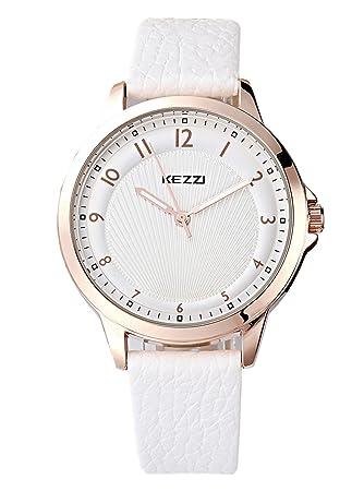 Armbanduhr damen gold  Kezzi Uhren Damen Rose Gold Quarz Analoge Weiß Leder Armbanduhr ...