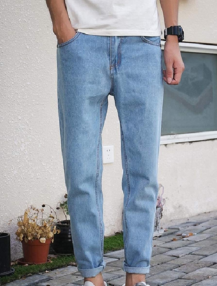 Tootless-Men Loose-Fit Washed Slim-Tapered Pockets Casual Relaxed-Fit Jean