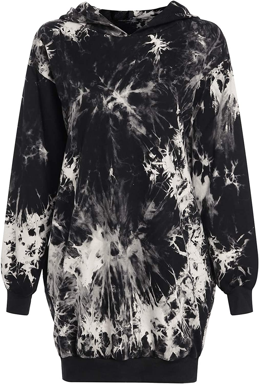 Auxo Women Hoodies Jumper Long Sleeve Oversized Casual Pockets Tunic Pullover Sweatshirt Mini Dress Long Hooded Tops