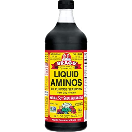 Bragg Liquid Aminos All Purpose Seasoning – Soy Sauce Alternative – Gluten Free, No GMO's, Kosher Certified, 32 ounce