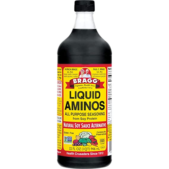 Amazon Com Bragg Liquid Aminos All Purpose Seasoning Soy Sauce Alternative Gluten Free No Gmo S Kosher Certified 32 Ounce Gourmet Food Grocery Gourmet Food