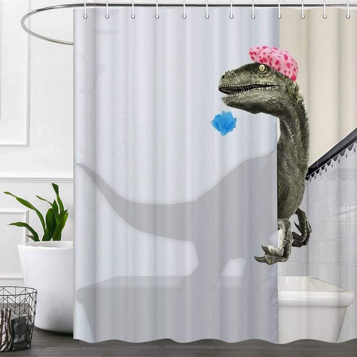 Funny Dinosaur Shower Curtains for Bathroom, White Cool Cute Unique Kids Fabric Shower Curtain Set, Fun Raptor Bathroom Accessories Decor, Hooks Included 72X72 Inches
