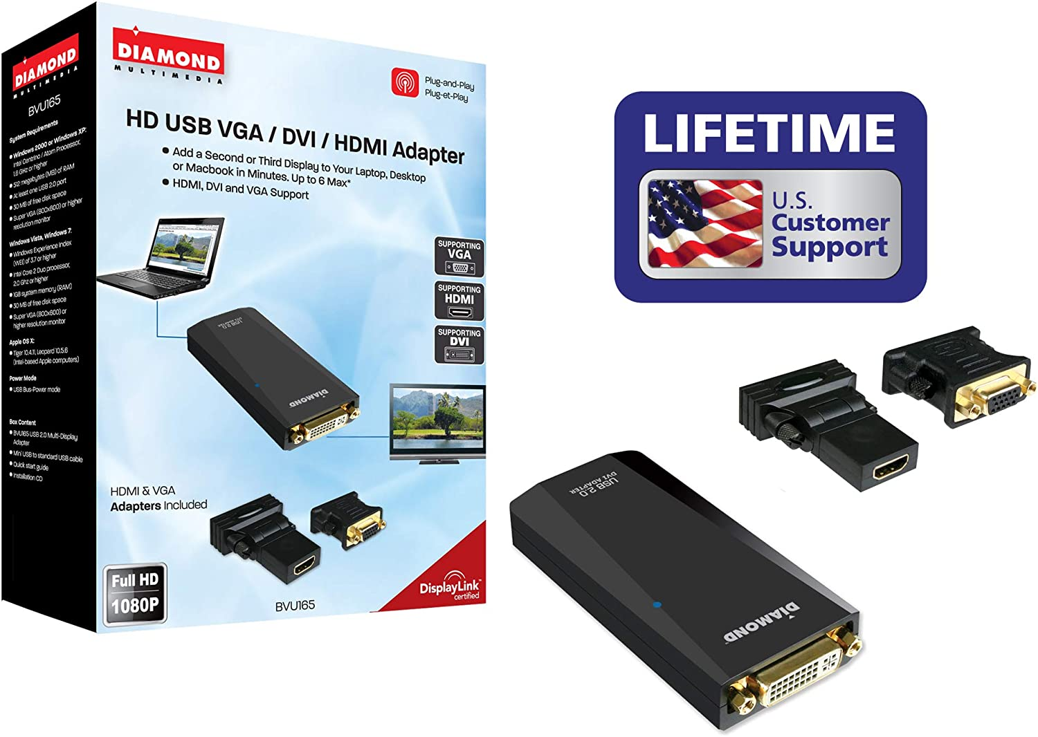 Diamond Multimedia USB 2.0 to VGA/DVI/HDMI Video Graphics Adapter up to 1920x1080 / 1600x1200 - Windows 10, 8.1, 8, 7, XP, MAC OS and Android 5.0 and Higher (BVU165LT)