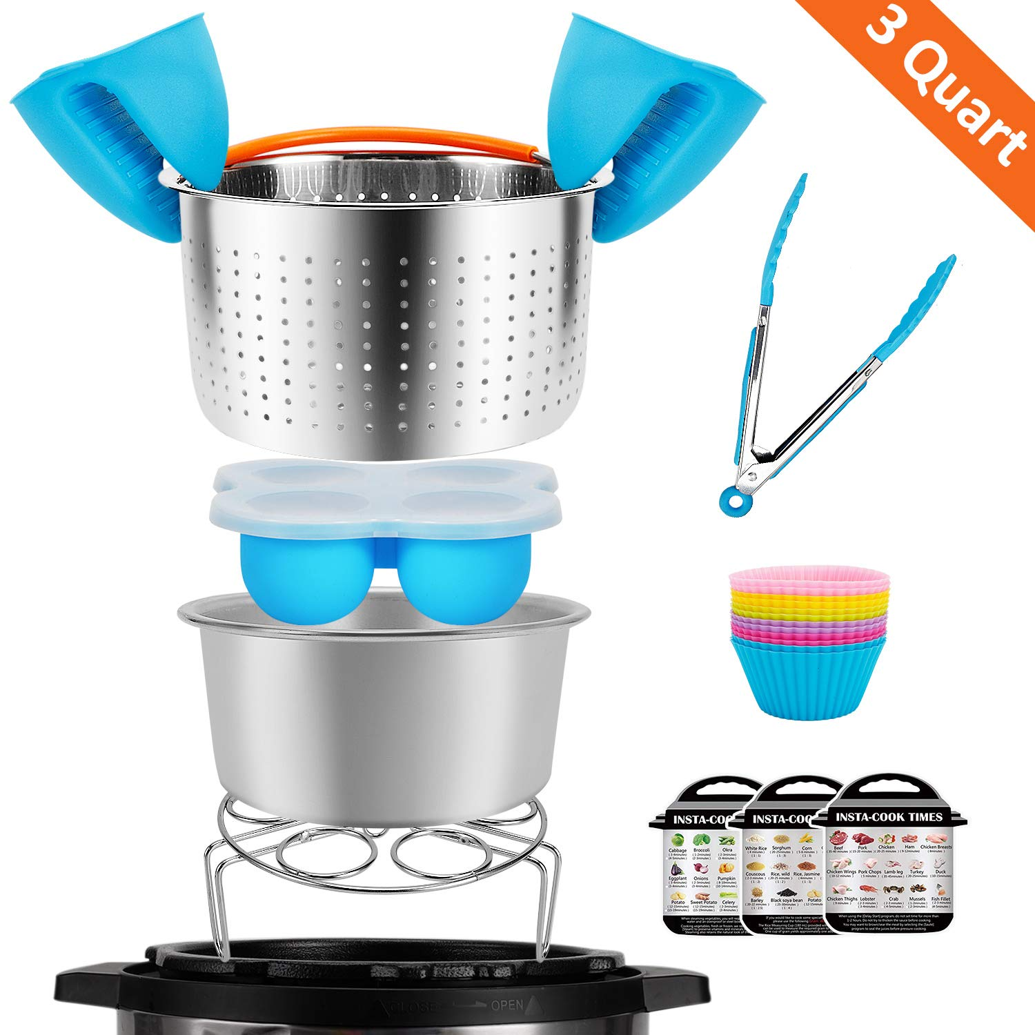 3 Quart Accessories Set Compatible with Instant Pot 3 Qt, Including Steam Basket,Silicone Egg Bites Molds,Springform Pan,Food Tongs,Egg Steamer Rack, Mini Mitts,Magnetic Sheet,Silicone baking cups
