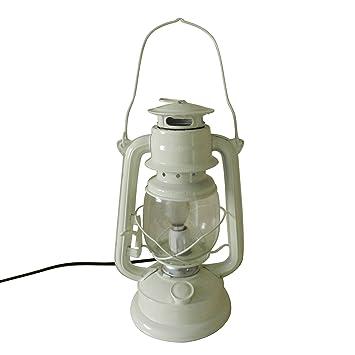 Uberlegen Primitive Rustikale Elfenbein Elektrische Metall Öl Lampe Tisch Laterne  Decor, H27.9cm