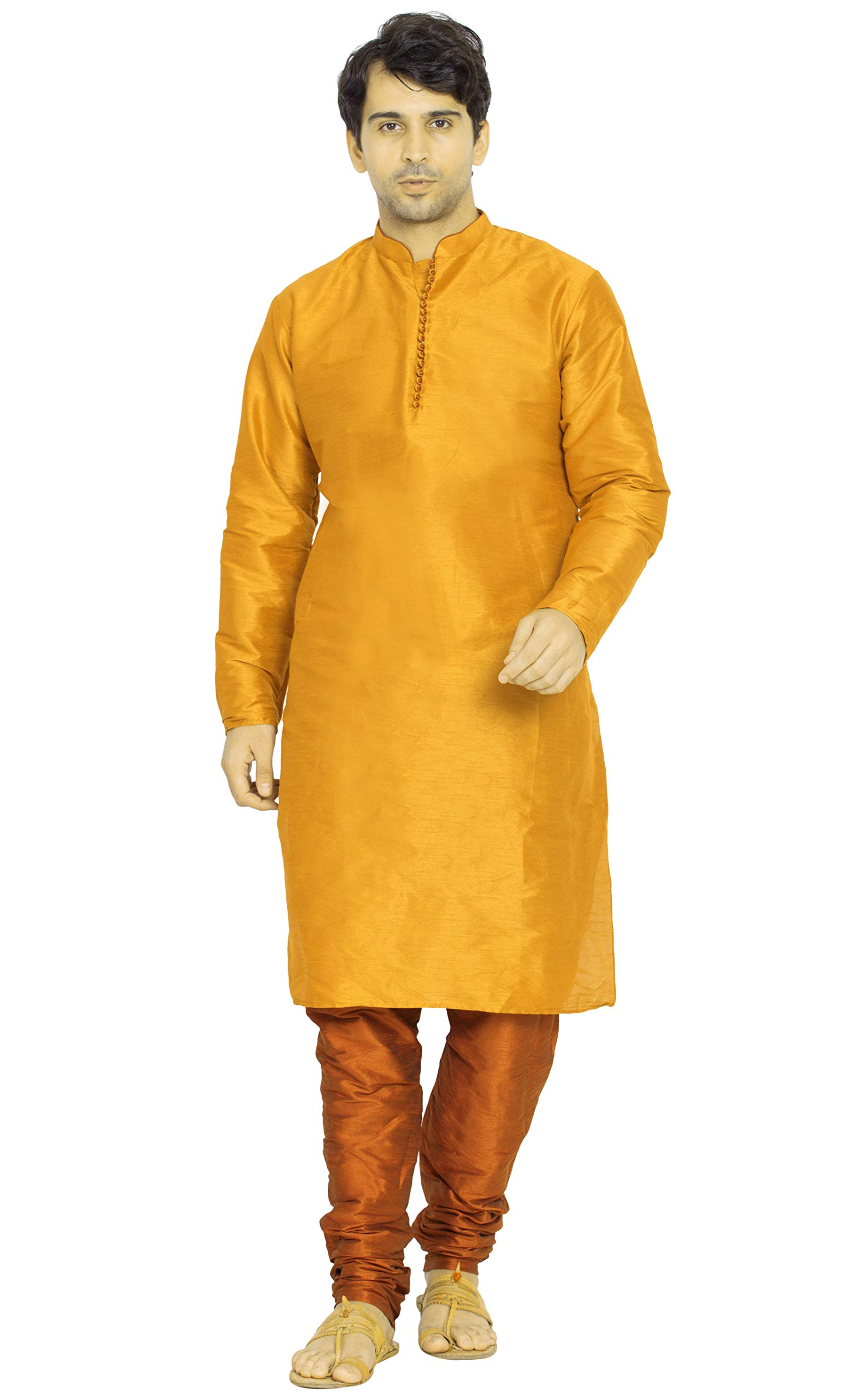 Kurta Pajama for Men Long Sleeve Kurta Pyjama Set Indian Yoga Summer Clothing (XL - Chest : 44 inches, Gold)