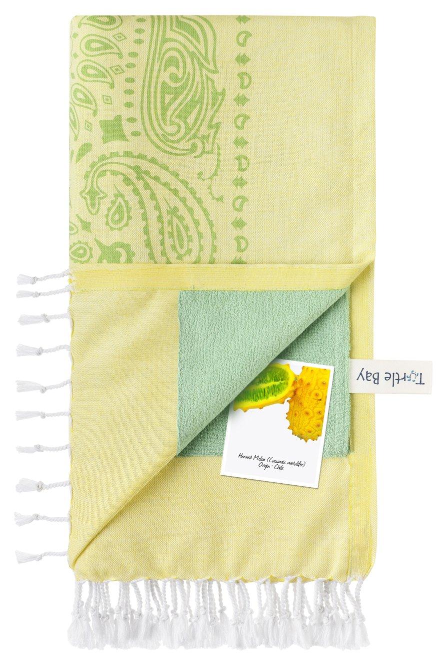 Turtle Bay - Toalla de playa / Pareo - Toalla de baño - Kikoy Towel Paisley - Color : Sun/Minty Green - Tamaño : 95 x 170 cms: Amazon.es: Hogar