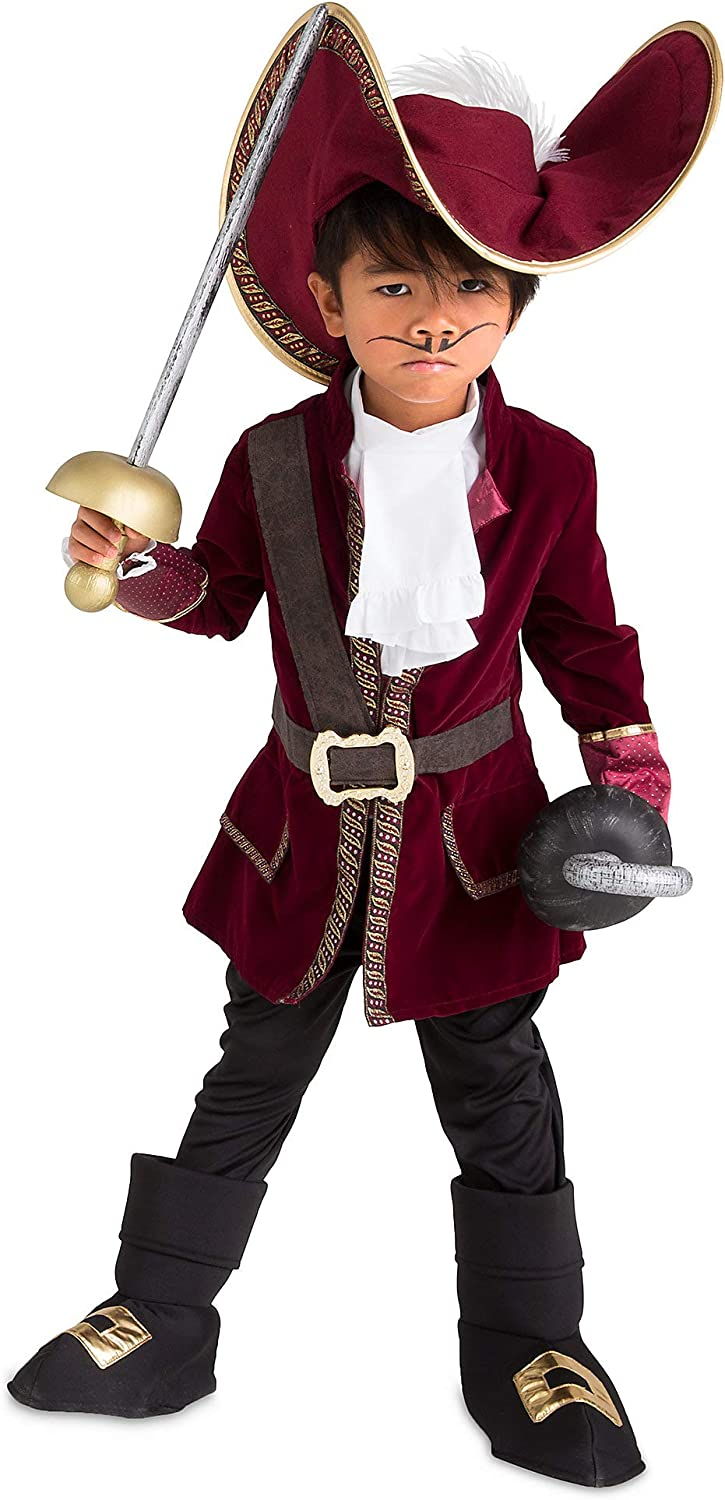 Amazon Com Disney Captain Hook Costume For Kids Peter Pan Red Clothing
