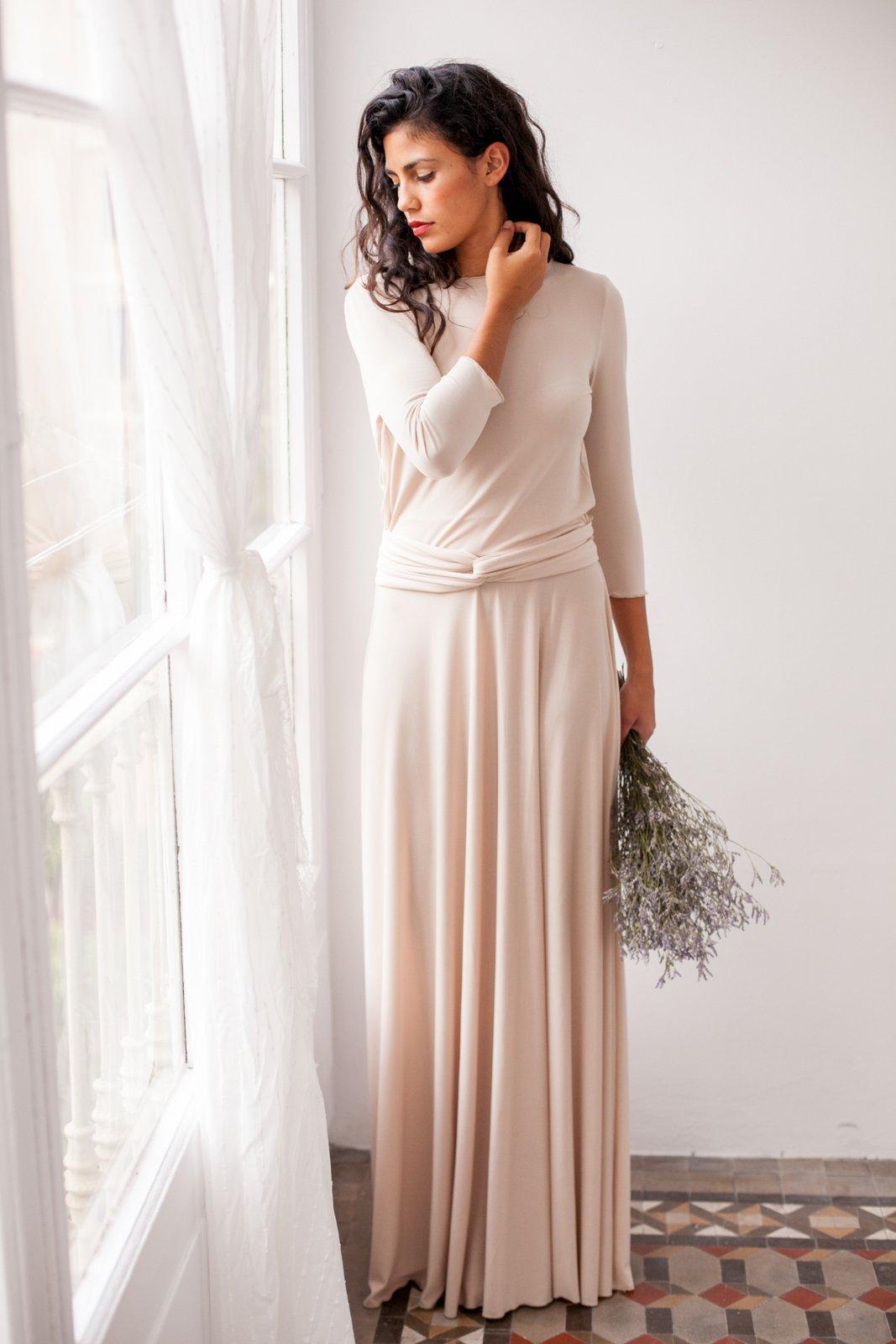 Champagne wedding dress, long sleeve wedding dress, romantic beige long dress, long sleeve wrap dress, beige long dress, mimetik bcn dresses