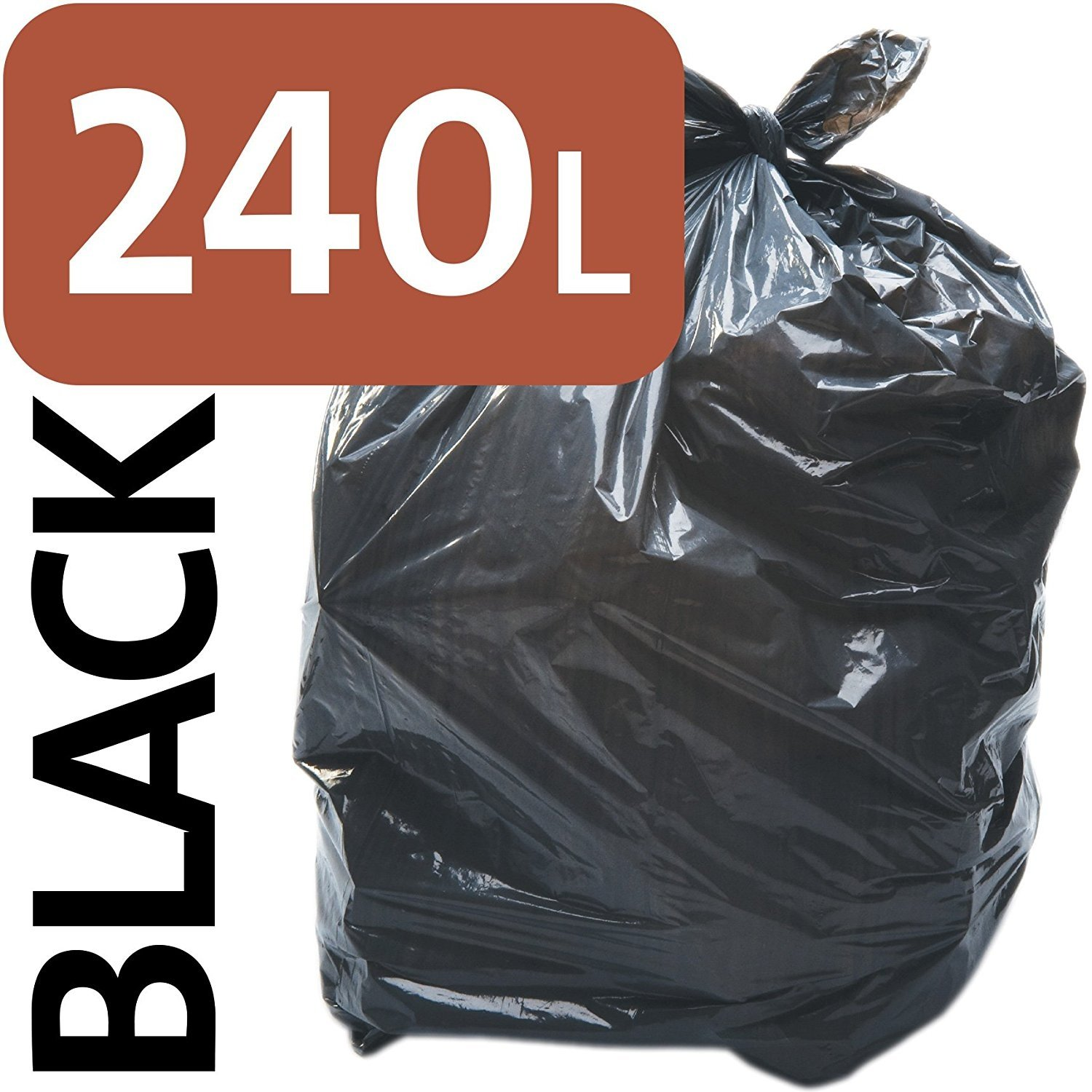 3 x Alina 240L Polythene Black Heavy-Duty Wheeled Bin Liner / Wheelie Refuse Bag / ENSA Compactor Sack / Heavyweight 240 Litre Black Plastic Garbage Bag (3 sacks)