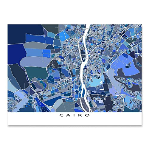 Amazon.com: Cairo Map Print, Egypt, City Street Art ... on pyramid mexico city map, pyramid egypt map, pyramid giza map,