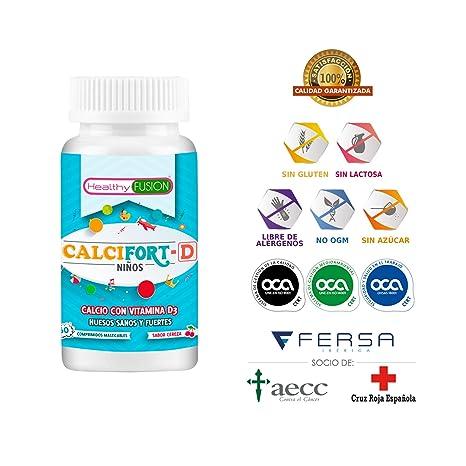Calcio Puro microencapsulado con Vitamina D3 de alta biodisponibilidad - Huesos sanos y fuertes para el crecimiento saludable de los niños - ...