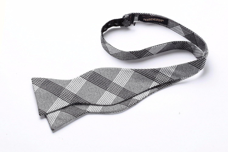 HISDERN Mens Check Striped Self Bow Tie Pocket Square Set Wedding Party