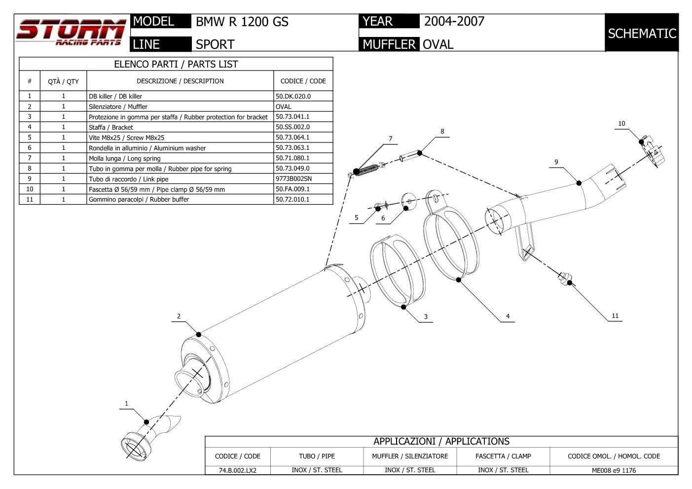 74.B.002.LX2 Auspuff Storm by Mivv Schalldampfer Oval Stahl fur R 1200 Gs 2005 05