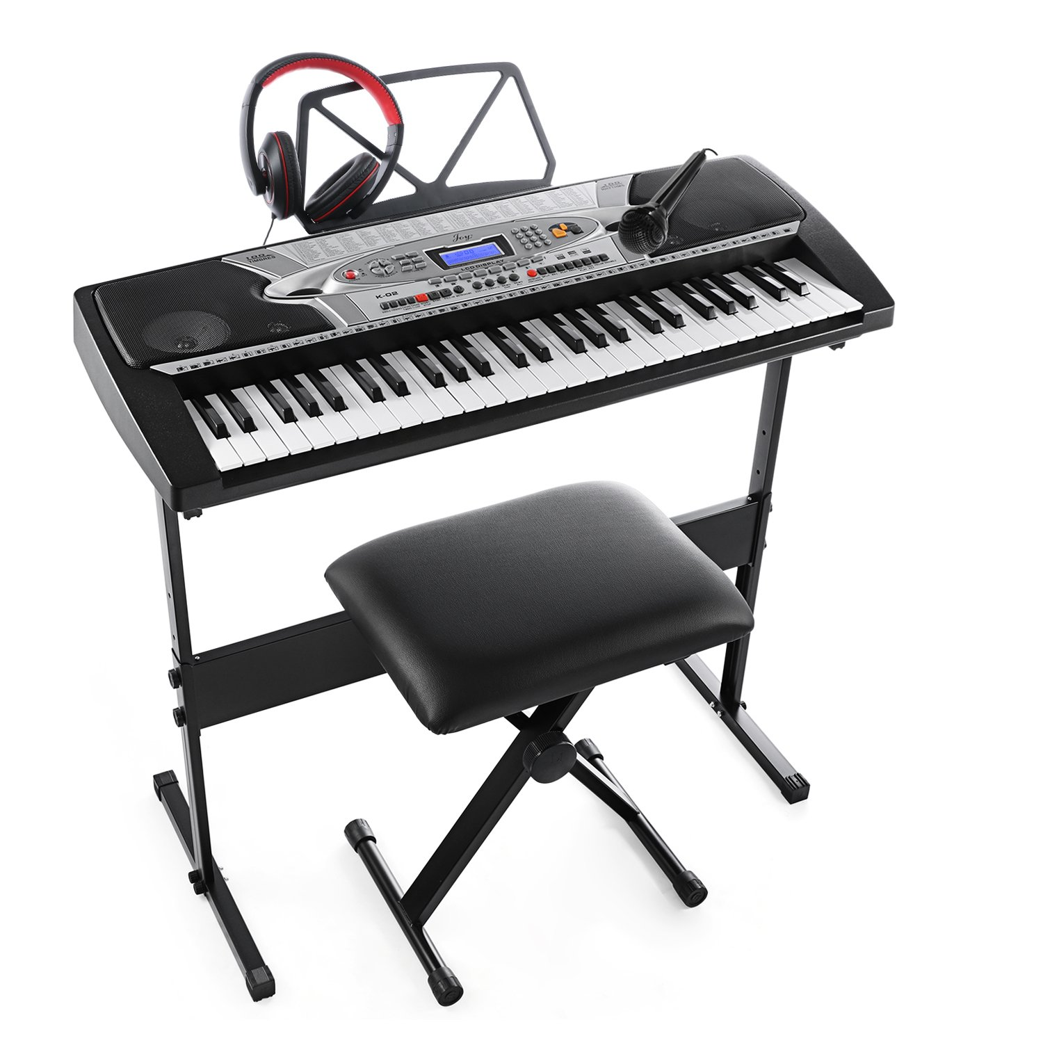 Joy K-02 54-Key With LCD Screen Electronic Keyboard Starter Pack for Beginners with Microphone, Headphone, Stand, Stool, and Power Supply CHINA JOY KEYBOARDS CO. LTD K-02-KIT