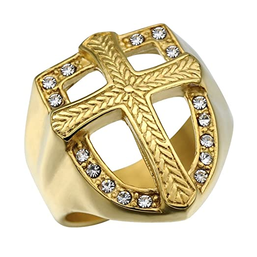 Mens Wedding Bands Vintage Shield Cross 316L Stainless Steel Gold Tone CZ Hiphop Jewelry Rings Size