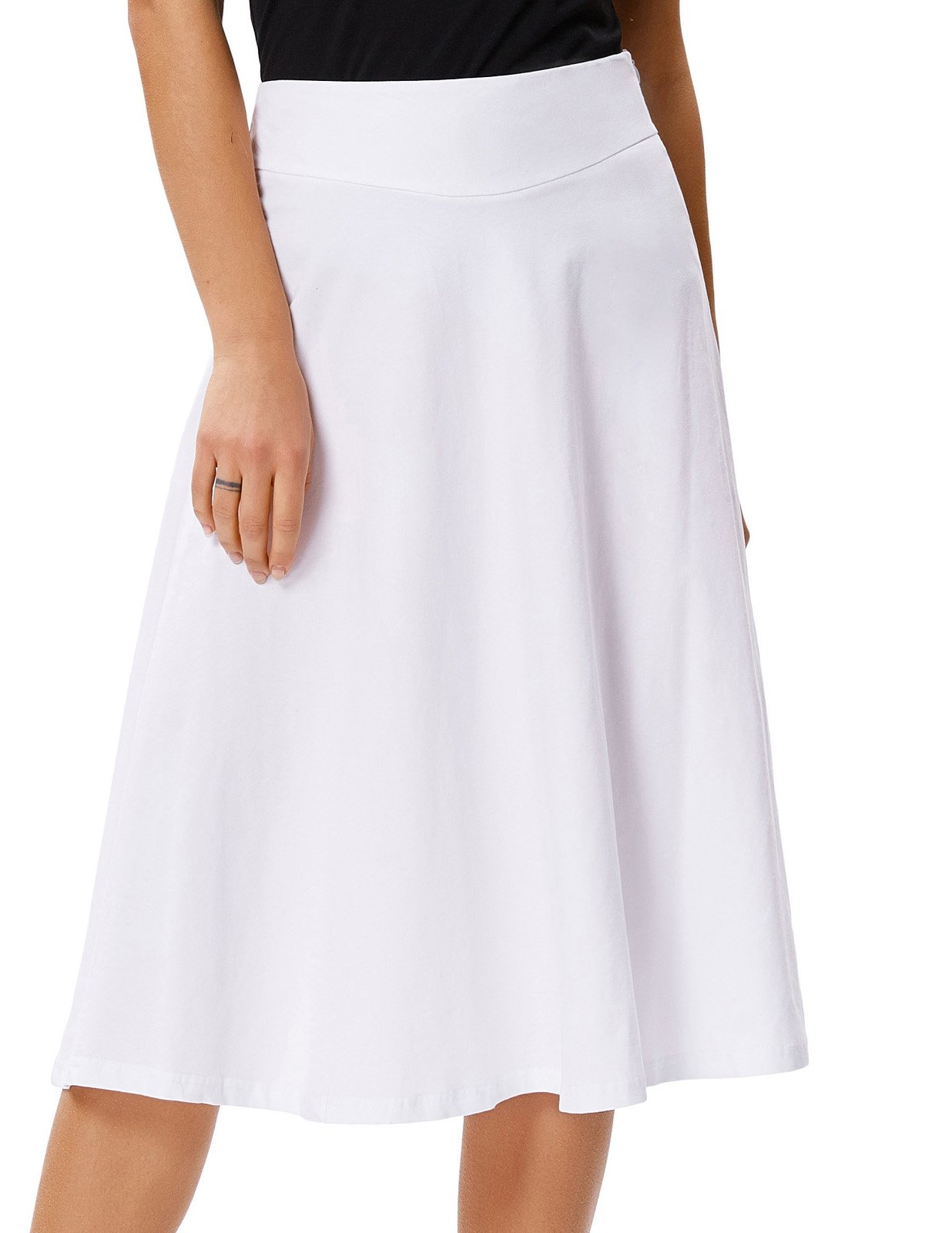 Stretchy Full Skater Kneen Length Drape Swing Skirt(M,White)