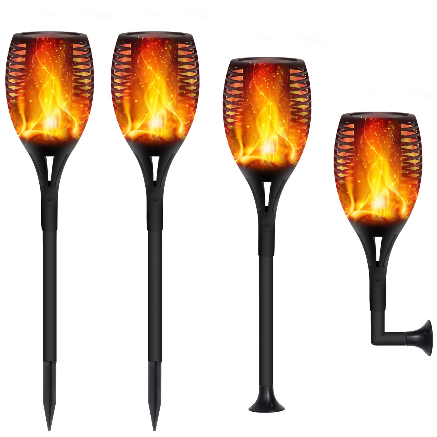 FAISHILAN Solar Flame Flickering Torch, Waterproof Dancing Flame Solar Lights Outdoor, 96 LEDs Solar Tiki Torches, Dusk to Dawn Solar Torch Light, 4 Pack by FAISHILAN