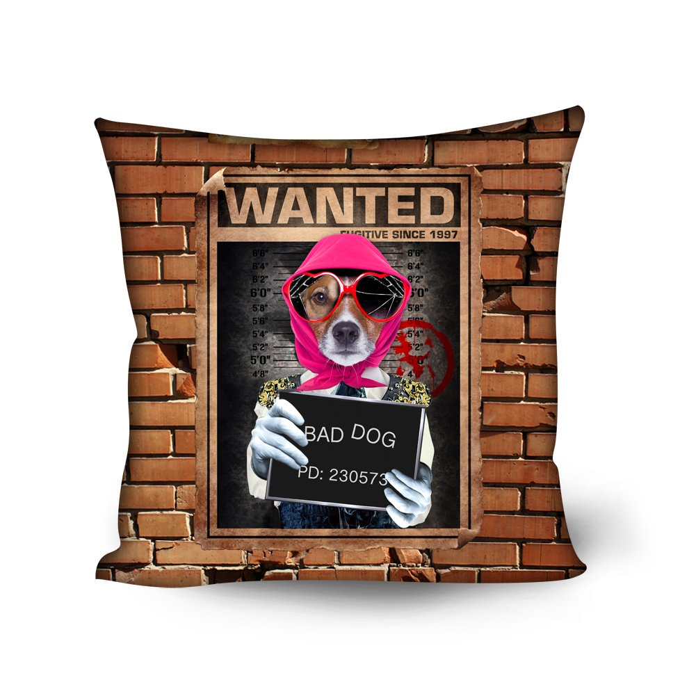 "bigcardesigns動物デザイン印刷18 x 18 ""スクエアスロー枕ポリエステルカバー ブラウン B079NG1BGR  犬"