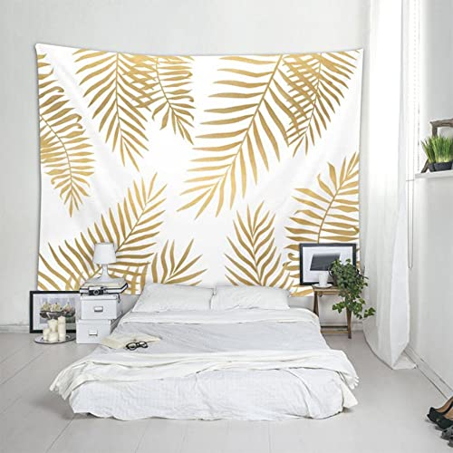 iLeadon Tapestry Wall Hanging Wall Decor for Bedroom Living Room Gold Palm Leaf, 60 H x 80 W