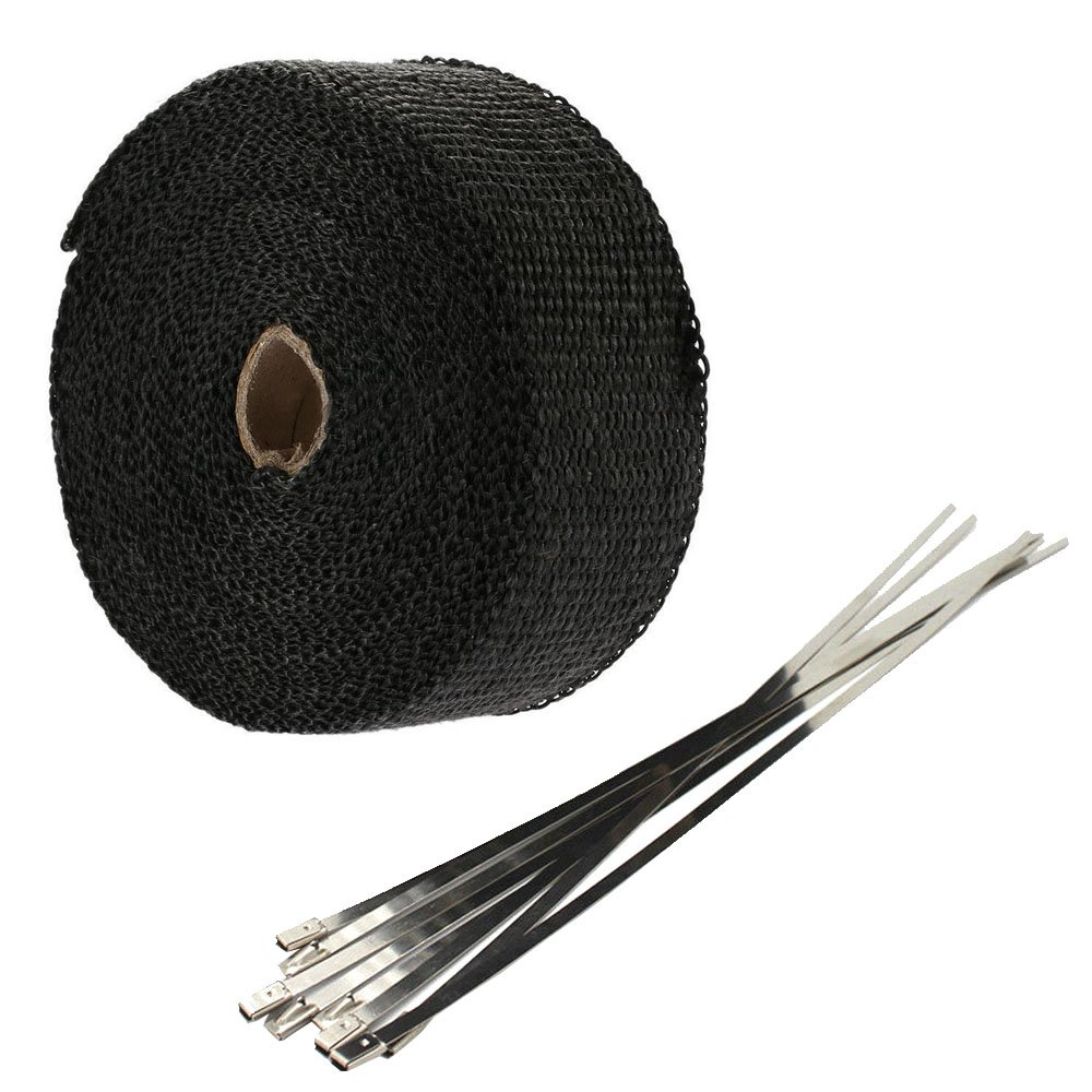 Supmico 5CM X 5M Insulating Mainfold Fiberglass Roll Black Racing Exhaust Heat Pipe Wrap Tape Header 6 Stainless Ties Car