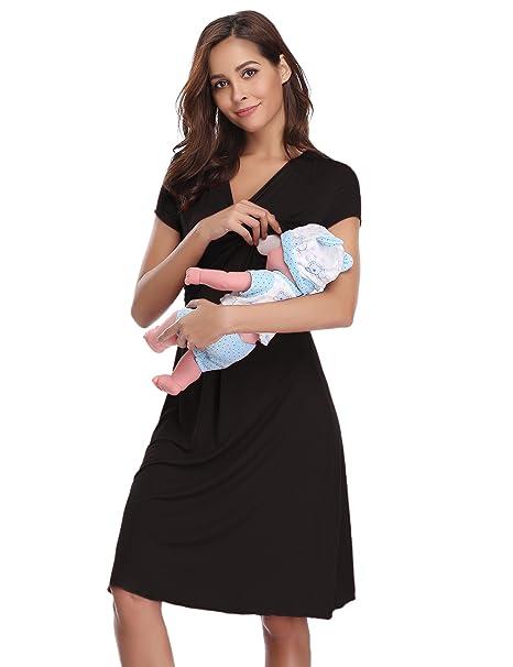 71d61735c1 Hawiton Women s Maternity Nursing Dress Shorts Sleeve Breastfeeding  Sleepwear Nightgown Black