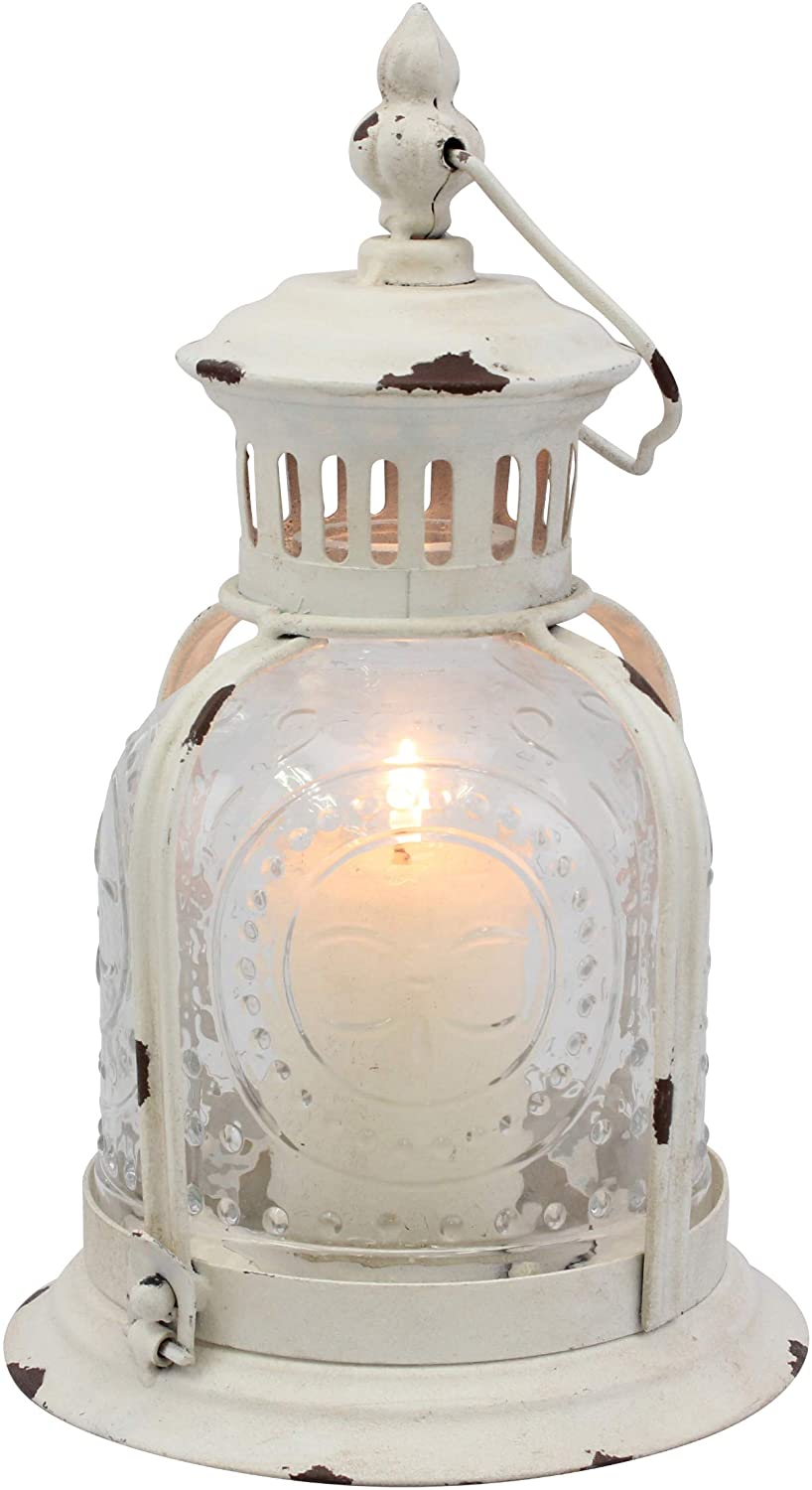 Stonebriar Antique Worn White Metal Candle Lantern, Decoration for Birthday Parties, a Rustic Wedding Centerpiece, or Create a Relaxing Spa Setting, for Indoor or Outdoor Use
