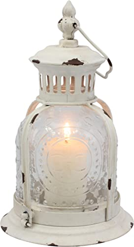 Stonebriar Antique Worn White Metal Candle Lantern