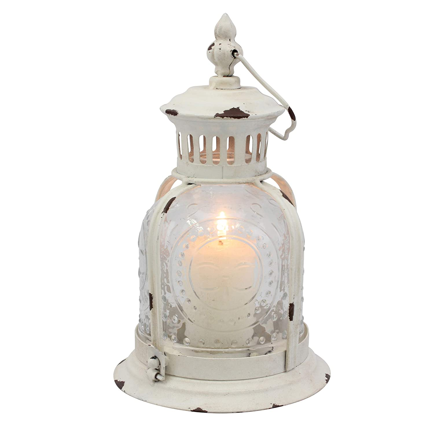 Shabby White Metal Candle Lantern with Etched Glass