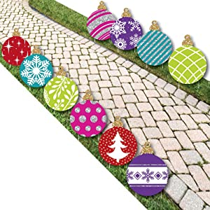 Big Dot of Happiness Colorful Ornaments Lawn Decorations - Outdoor Holiday and Christmas Yard Decorations - 10 Piece