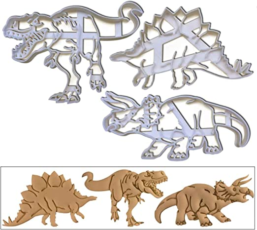 3 pc Baby Dinosaur Set Cookie Cutter Brontosaurs Triceratops Tyrannosaurus Rex