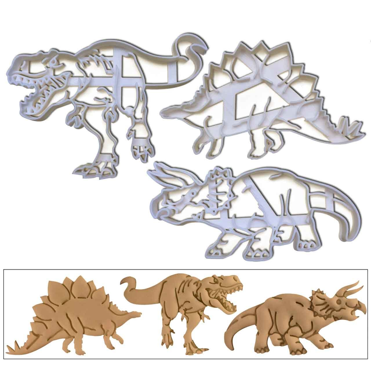 SET of 3 Dinosaurs (Tyrannosaurus Rex, Stegosaurus and Triceratops) cookie cutters, 3 pcs, Ideal gift for dinosaur theme party