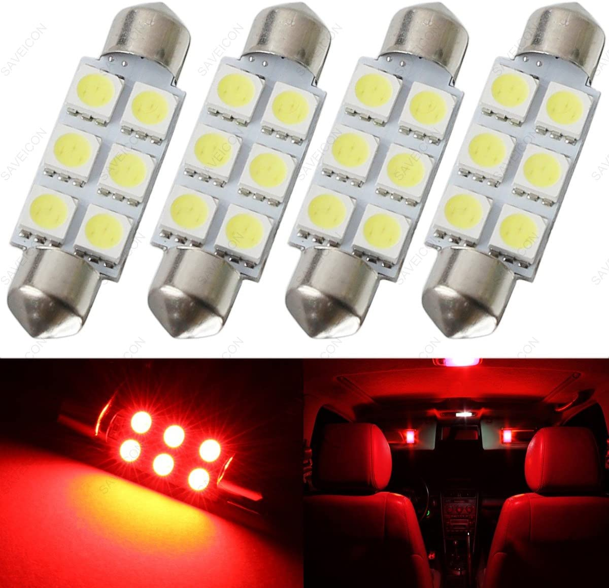 SAWE - 44MM 6-SMD 5050 Festoon Dome Map Interior LED Light Bulbs Lamp For 6411 578 211-2 212-2 (4 pieces) (Red)