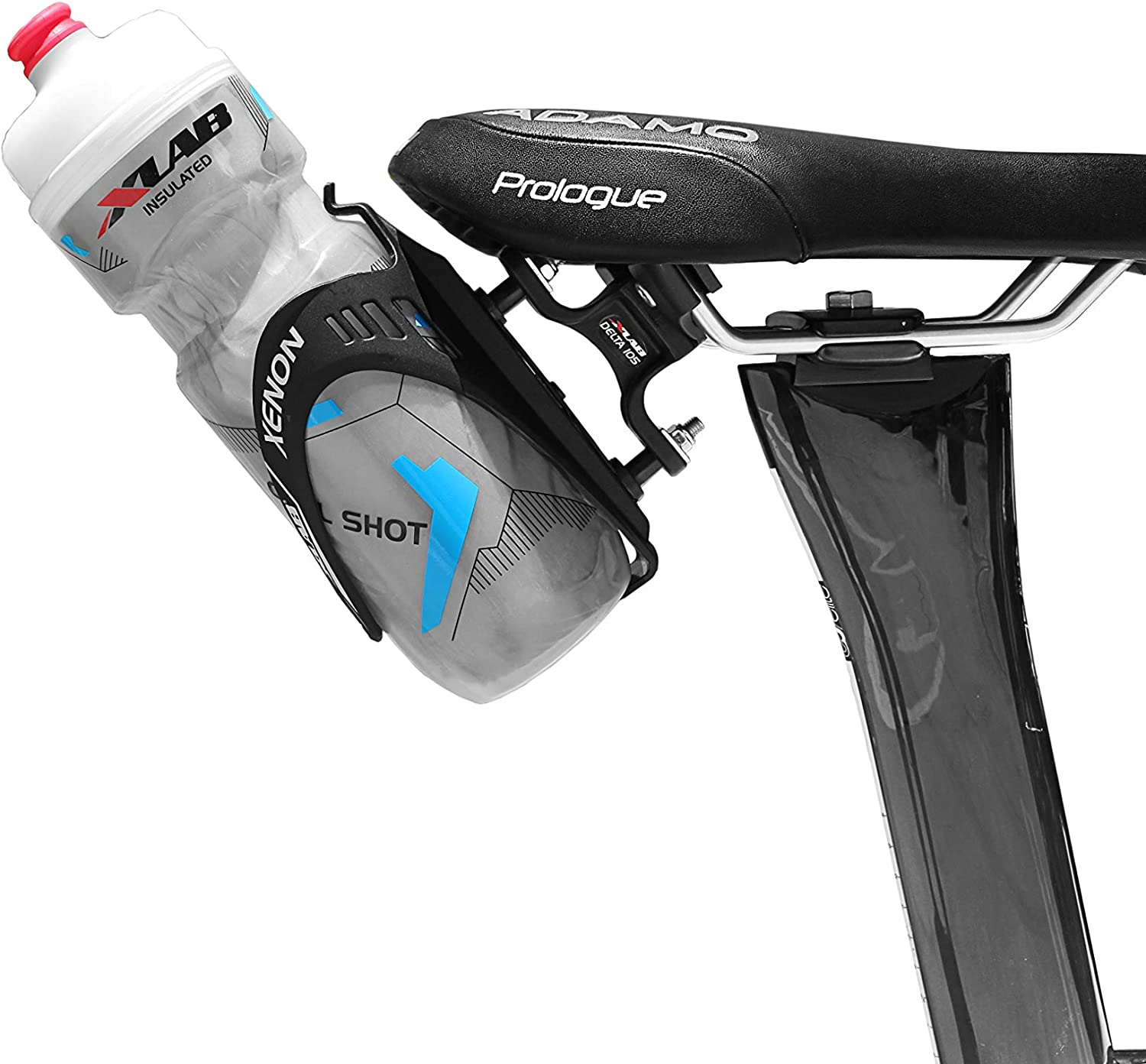 Water bottle cage mounted behind the saddle