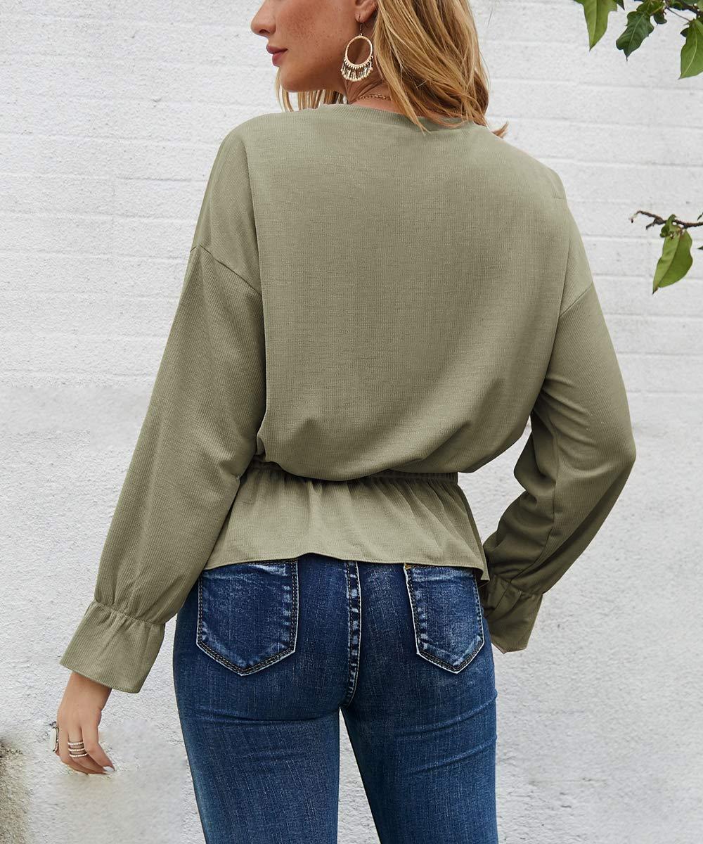 Acramy dam elegant topp casual lös lång ärm blus tunika med volantärmar Ljusgrön