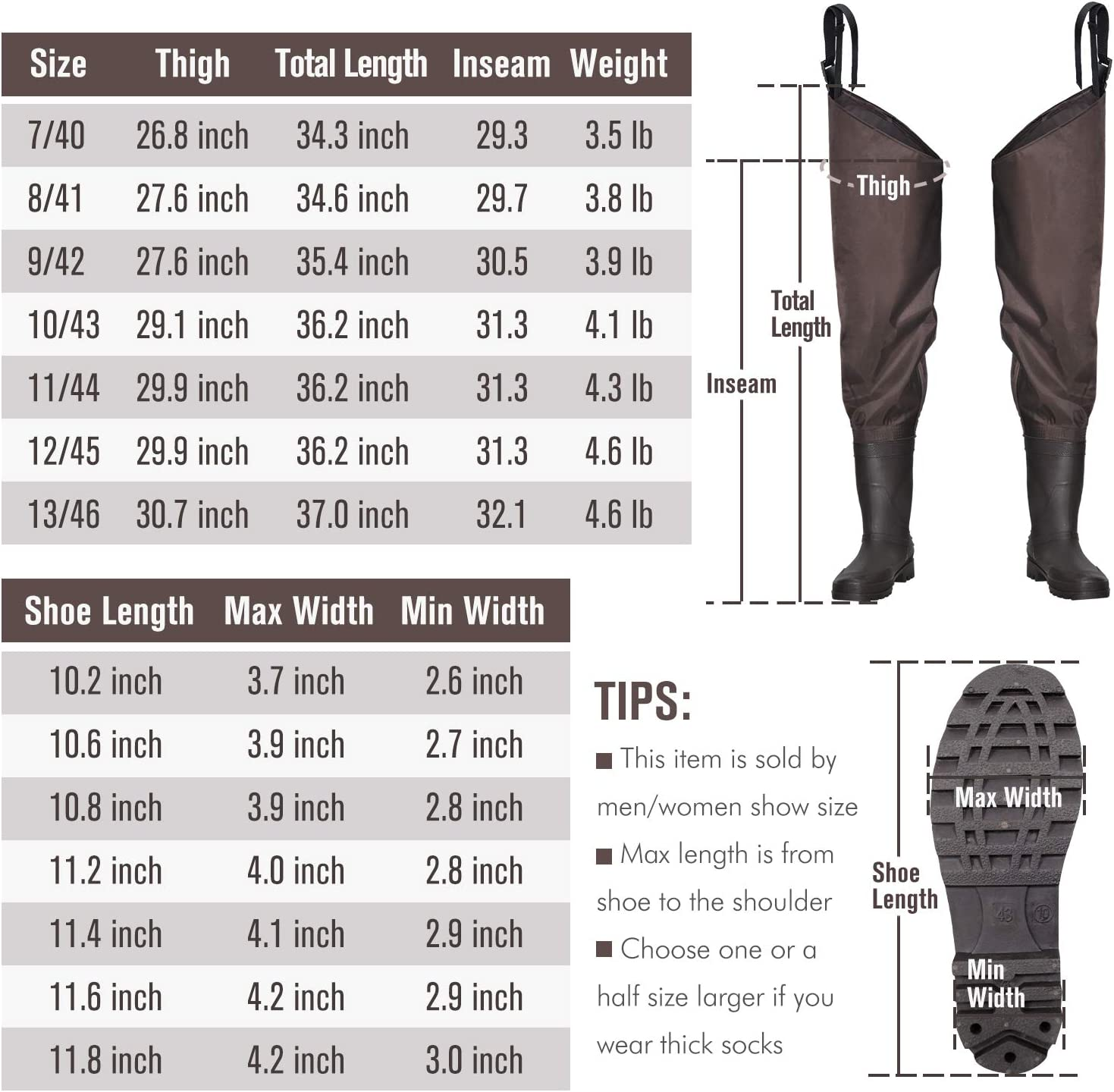 OXYVAN Hip Waders Lightweight Fishing Waders for Men Women with Boots 2-Ply PVC/Nylon Waders for Women Men with Boots (Green and Brown) : Sports & Outdoors