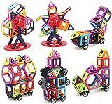 LUXJET 95PCS Magnetic Building Blocks,ABS Plastic,Creative Educational Gift Kids(39pcs Magnetic block+56pcs Accessories)