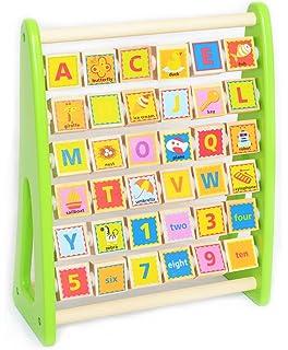 Tooky Toy - Ábaco alfabético con ilustraciones y vocabulario en inglés - Juguete educativo para niños