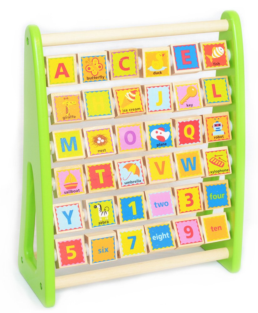 Tooky Toy - Ábaco alfabético con ilustraciones y vocabulario en inglés - Juguete educativo para niños y niñas a partir de 24 meses Ltd.