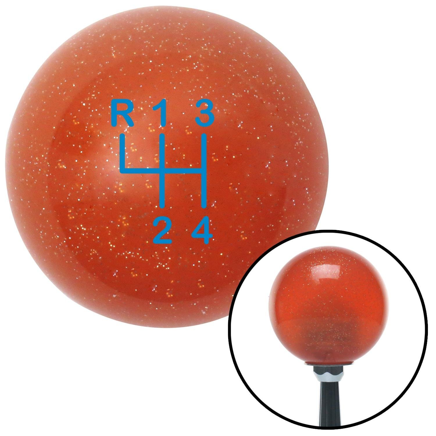 American Shifter 81516 Orange Metal Flake Shift Knob with M16 x 1.5 Insert Blue Shift Pattern 3n