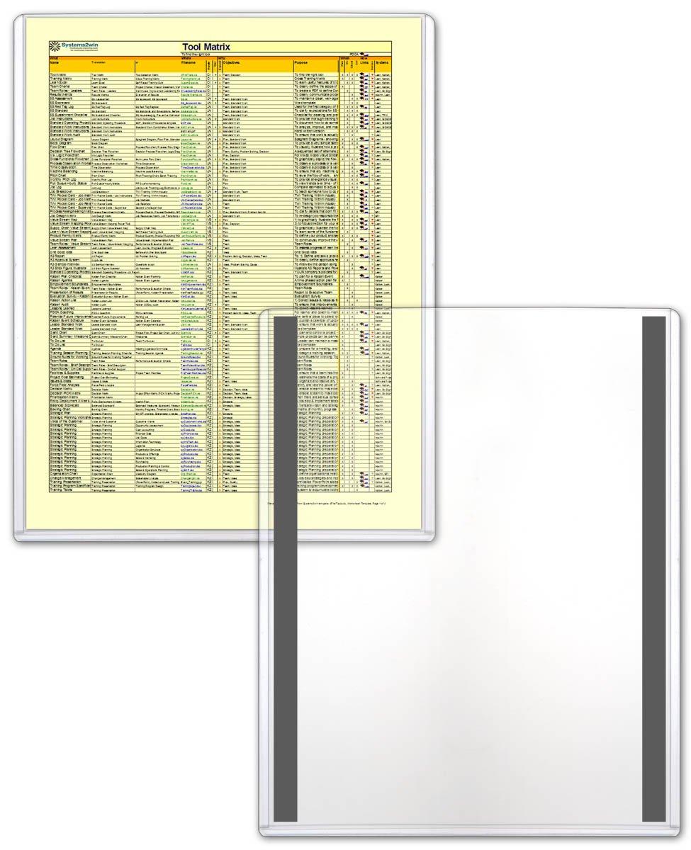 STORE SMART - Magnetic Frames - Rigid Plastic - 10-Pack - 8 1/2'' x 11'' - Lean / 5S / Six Sigma (HPP812X11M-LEAN-10)
