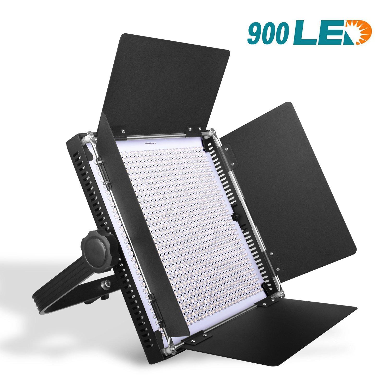 Emart 900 LED Dimmable Bi-Color Professional Light for Studio, LED Light Panel Kit for YouTube Photography, Outdoor Video Shooting, Durable Metal Frame with U Bracket, 3200K-5600K