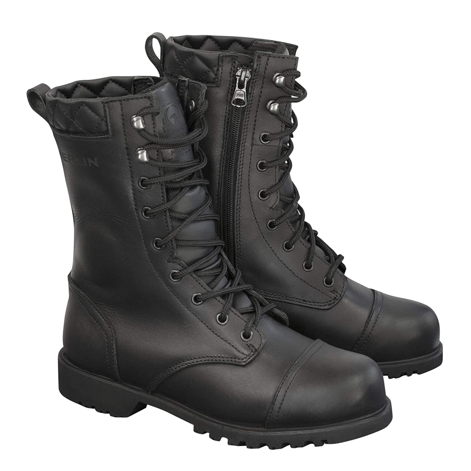 UK 7 Profirst Global Motorbike Boots Waterproof Commando Touring Motorcycle Genuine Leather Shoes High Long Ankle Casual Racing Sports Touring Cruise EU 41 Full Black