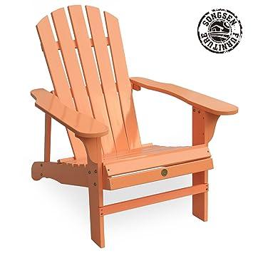 Songsen Fashion Outdoor Wood Adirondack Chairs/Muskoka Chair Patio Deck  Garden Furniture (Adult,