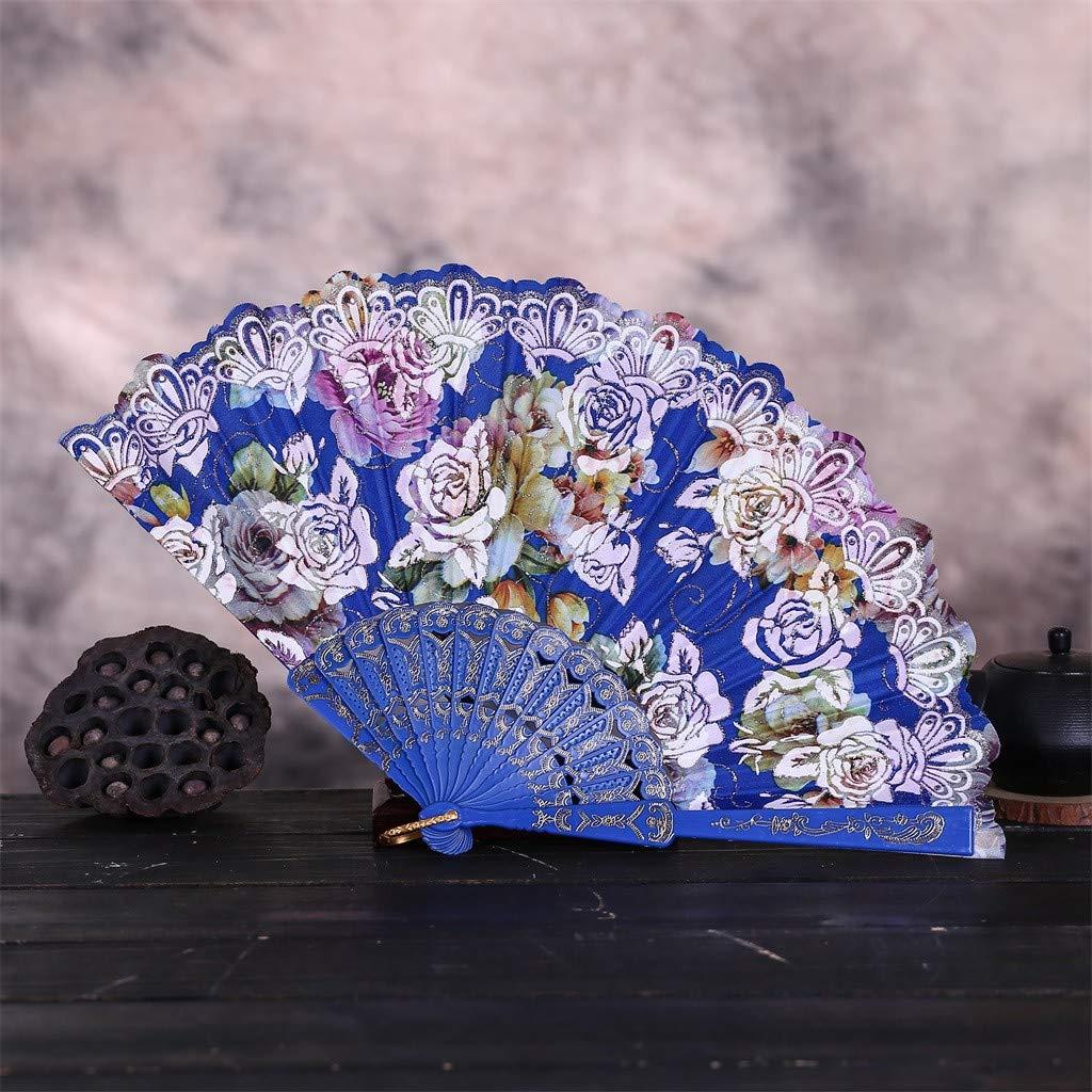 Abanico de la Novia de Encaje Seda y Madera Abanicos de Mano Mujer Boda Plegables Regalo Recuerdo Detalle para Novia Invitados Boda Fiesta Baile Arte Bamb/ú Telas