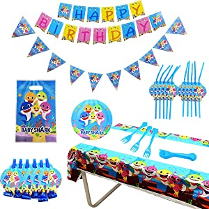 49 Pcs Shark Themed Party Decorations Supplies Includes Baby Shark Paper Plates, Tablecloth, Forks, Happy Birthday Banners,Pennants,Straws,Whistles and Gift Bags for Baby Shower Boys Girls Kids Ocean Parties