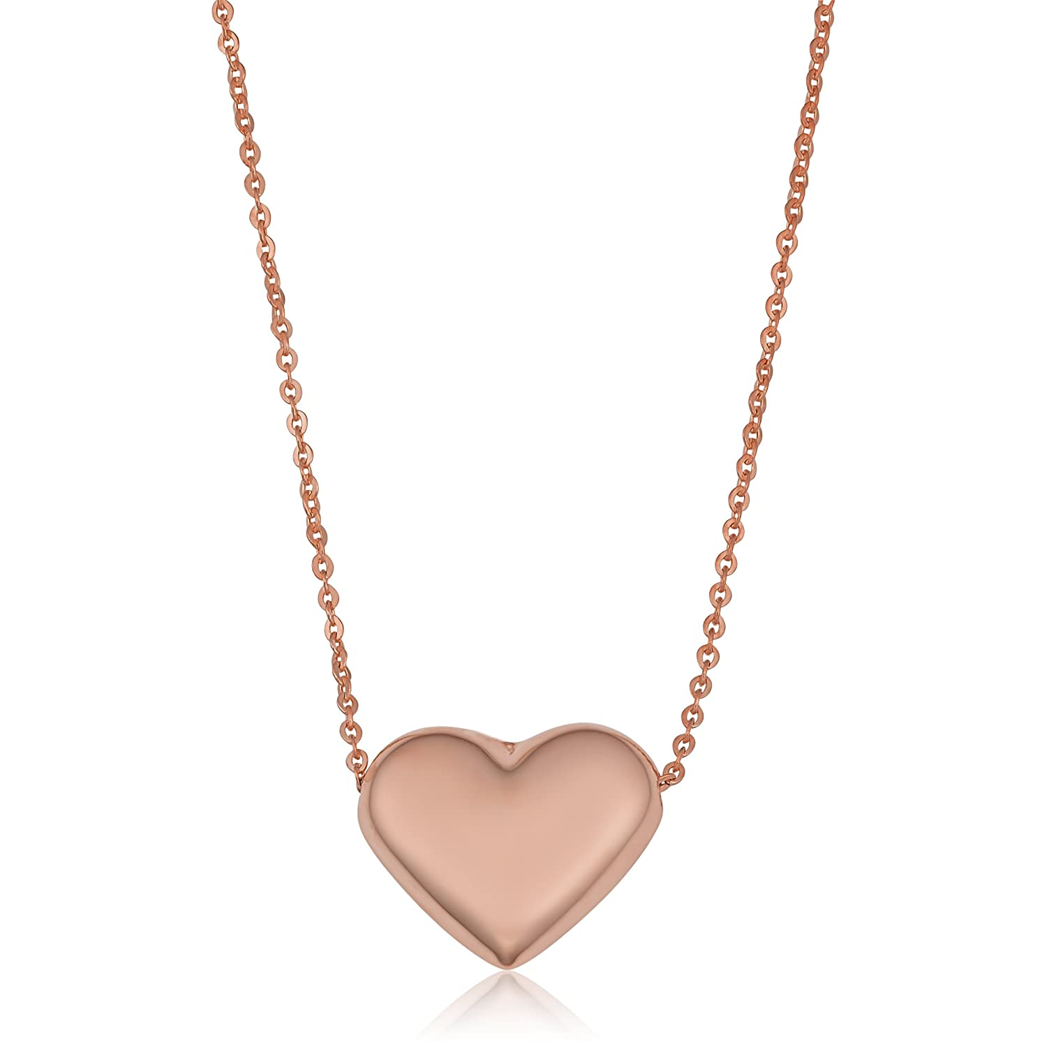 9f6a484a566c Amazon.com  14k Rose Gold Heart Necklace (18 inch)  Jewelry
