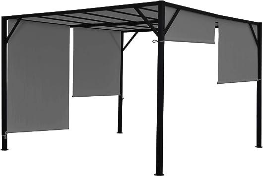 Mendler Pergola Baia, jardín cenador Terrassenüberdachung, estable 6 cm-Stahl-Gestell + Schiebedach gris: Amazon.es: Juguetes y juegos